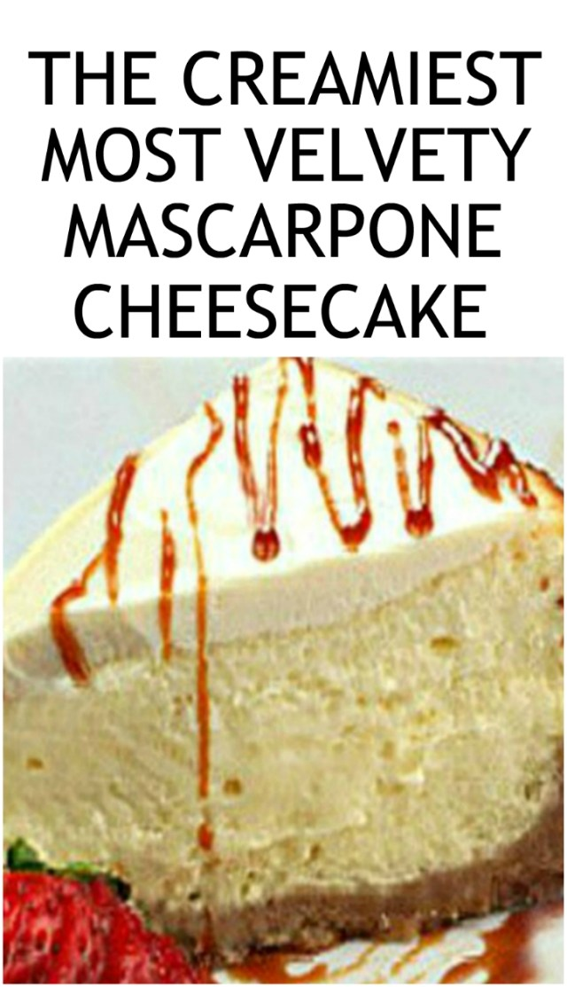The Creamiest, smoothest, most velvety mascarpone cheesecake you will ever have. 168 4-star reviews don't lie! 99% will make again! #cheesecake #mascarponecheesecake #creamcheese #sourcream