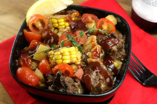 Beef (Short Rib) Brunswick Stew loaded with awesome veggies, in a rich BBQ gravy.