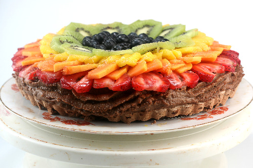 Chocolate Pavlova Tart with Fresh Fruit and Chocolate Mascarpone Mousse
