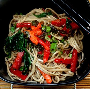 Garlic Soba Noodles with Caramelized Vegetables and Tempura Egg
