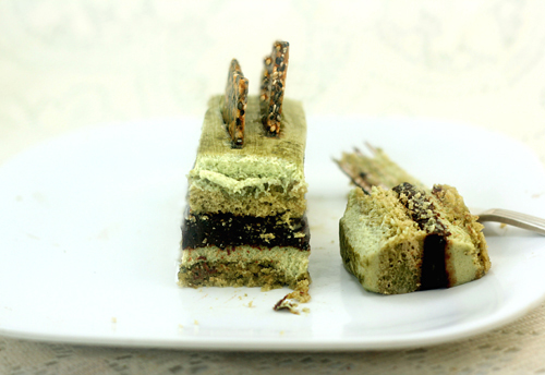 Matcha (green tea) Pistachio Black Sesame Chocolate Mousse Cakes (Entremet)
