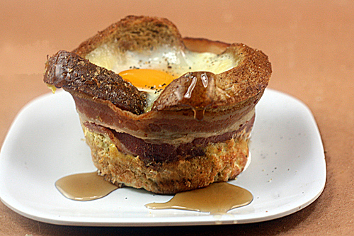 Whole Wheat French Toast Cups with Brie, Bacon and Eggs