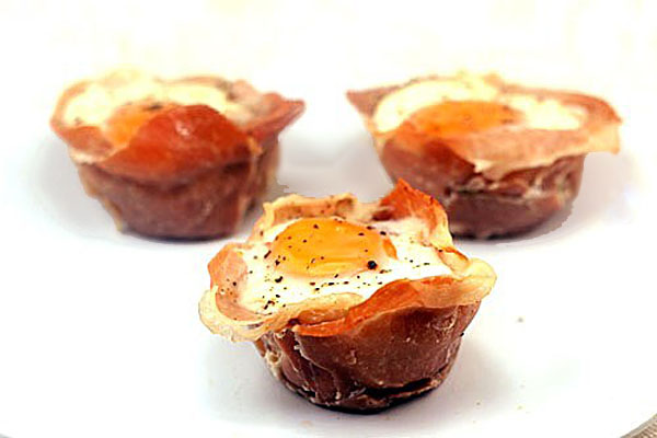 Creamy Vegetables, Cheese and Eggs in Prosciutto Cups.