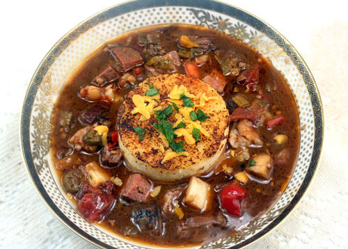 Beef and Seafood Gumbo with Cheese Grits Cakes