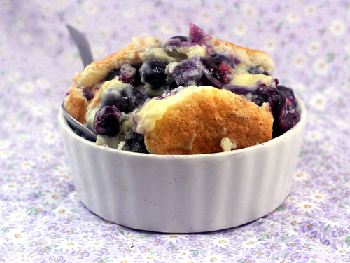 Magic Blueberry Coconut Custard Pudding Cake - One batter morphs into cake, pudding and blueberry filling when baked.