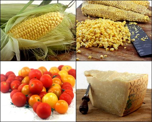 Sweet Corn - Grana Padano Ravioli With Basil Brown Butter and Warm Cherry Tomato Compote