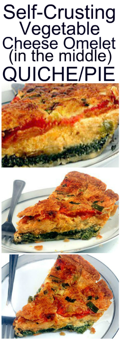 Self-Crusting Vegetable Cheese Omelet Pie. Tis pie is easily prepared like a quiche, via pouring an eggy custard over vegetables and cheese in a pie crust. HOWEVER, when baked, it magically transforms into three layers: garlicky spinach, a gooey cheese omelet center, and roasted red peppers. AND it FORMS ITS OWN CHEESY TOP CRUST! Oh, and it's wicked delicious!#quiche #pie #breakfast #brunch #omeletepie #cheeseomelet #spinach #roastedpeppers
