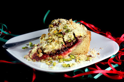 Raspberry Pistachio Cream Cheese Coffee Cake
