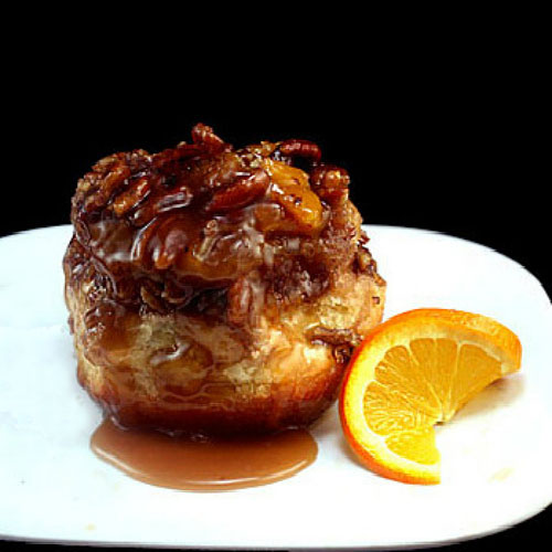 Orange Toasted Pecan Sticky Buns filled with chocolate!