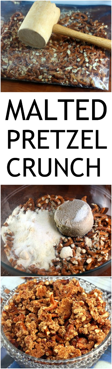 Malted Pretzel Crunch. People go so nuts for it that I have to make 5 or more pans on football Sundays! Try it drizzled with chocolate, too! #pretzelcrunch #maltedpretzelcrunch #pretzels #maltedmilkpowder #snack #munchies