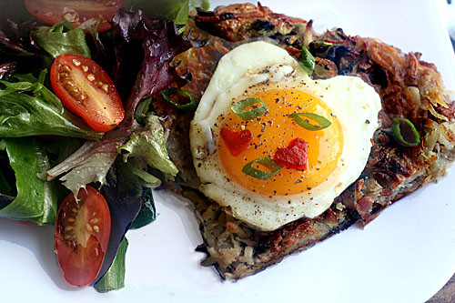 Potato Rosti with Bacon and Brie, and a Quick and Easy Brown Butter Pan Applesauce