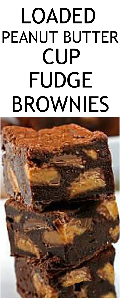 Fudge Brownies loaded with chunks of peanut butter cups! It's truly the perfect mishmash of fudge and a brownie, and a chunk of peanut butter cup with every bite! #peanutbuttercups #brownies #fudge