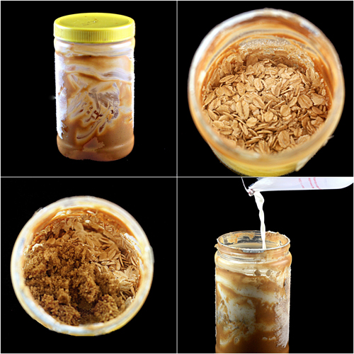 Peanut Butter Overnight Oatmeal made right in the peanut butter jar using the remaining bits of peanut butter!