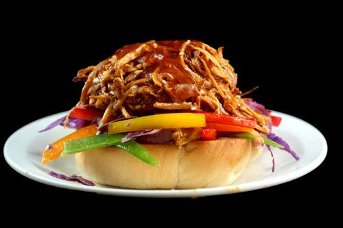 Crockpot Pulled Honey Sesame Chicken Sliders with Bell Pepper Slaw