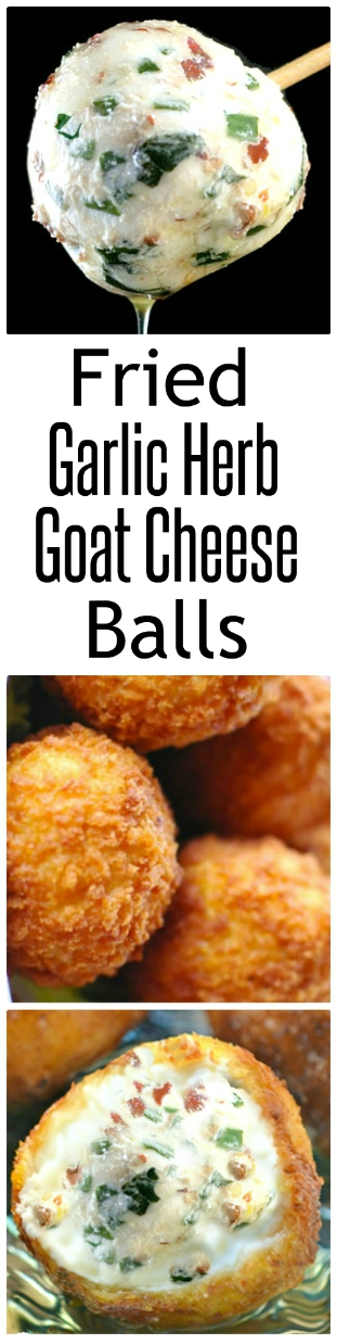 Deep-Fried Garlic Herb Goat Cheese Balls! You can also use other soft cheeses like cream cheese or yogurt cheese! Loaded with garlic and herbs, these cheeseballs are amazing even without breading and deep-frying them! Perfect party fare! #goatcheeseballs #goatcheeseorbs #goatcheese #chevre #garlic #herbs #redpepperflakes #lemonzest
