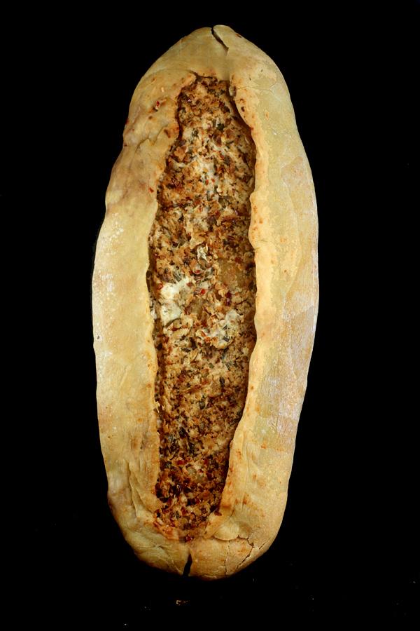 Spicy, Garlic, Herb Caramelized Goat Cheese (chevre) Turkish Flatbread (Pide)