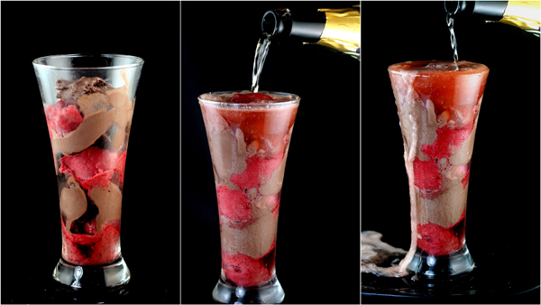 Chocolate Ice Cream - Raspberry Sorbet Champagne Floats