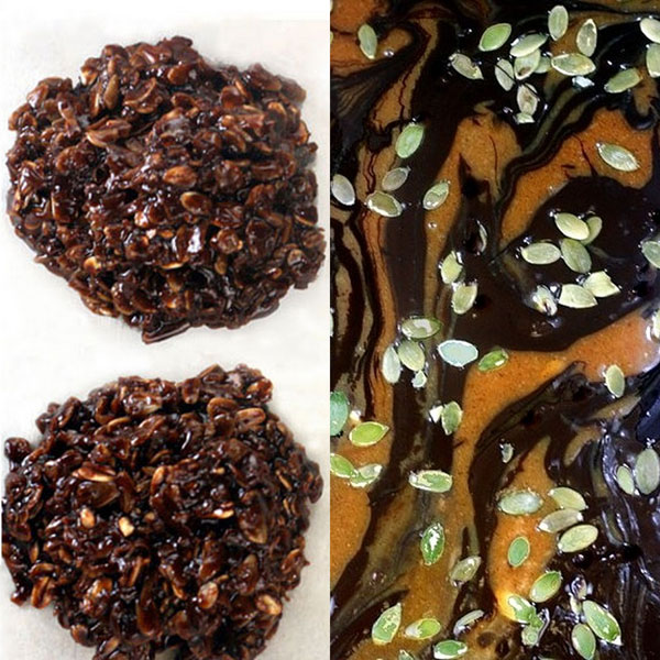Pumpkin White and Dark Chocolate Bark with a KRISPY No-Bake Nutella cookie Base and Salted Pepitas (shelled pumpkin seeds)