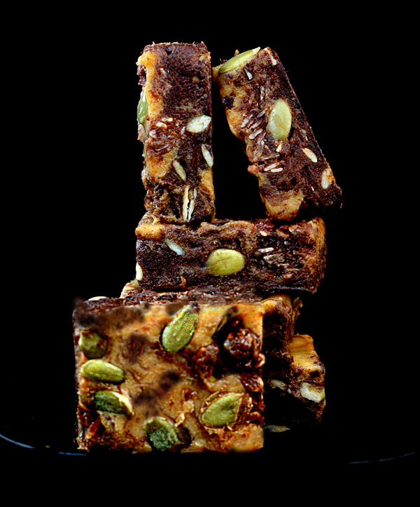 Pumpkin White and Dark Chocolate Bark with a No-Bake Nutella cookie Base and Pepitas (shelled pumpkin seeds)