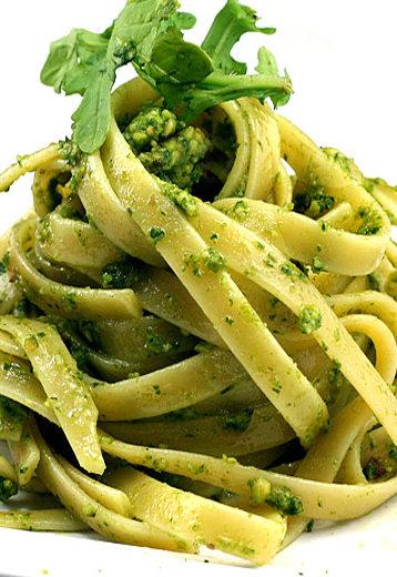 Fettuccine with Cheesy Garlic Broccoli Kale Arugula Pesto