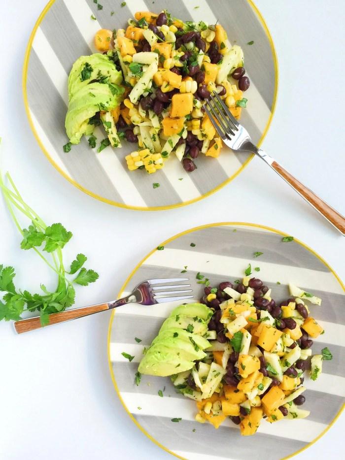 mango grilled corn and black bean salad