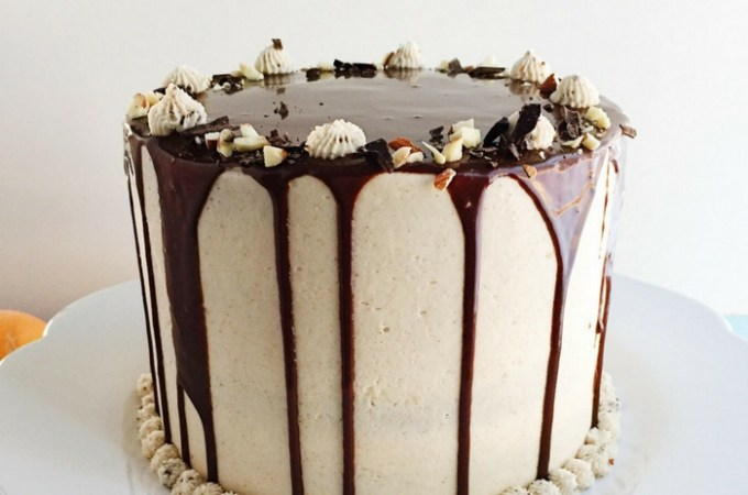 Italian Cannoli Cake with Rum and Chocolate Ganache