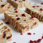 white chocolate cranberry no-bake protein bars
