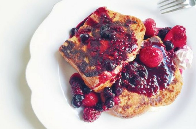 Citrus and Berry Cream Cheese Stuffed Brioche French Toast