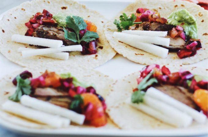 Duck Confit Tacos with Fresh Cherry-Orange Salsa