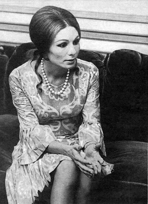 Farah wearing a silk dress made by local fabric makers - 1970s