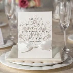 2.1_Partecipazione Matrimonio Laser Bianca con Fiocco
