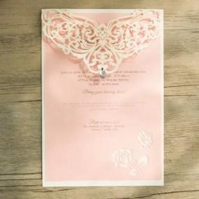 5_Partecipazione Bianca e cartoncino rosa
