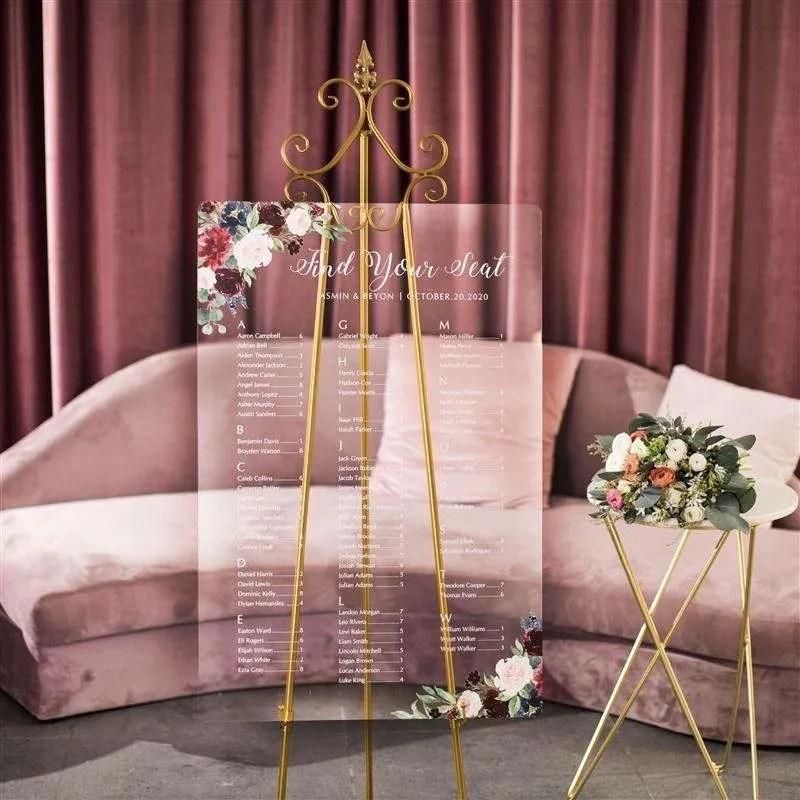 Cartelli Plexiglass tableau de mariage YK022