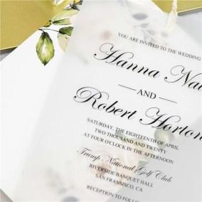 Invito di nozze elegante floreale a doppio strato in carta trasparente WDV0004_2