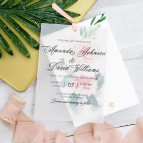 Invito di nozze romantico floreale in carta trasparente WDV0003_1