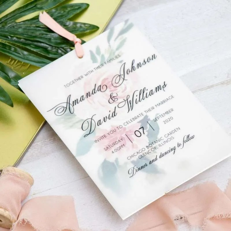 Invito di nozze romantico floreale in carta trasparente WDV0003_3