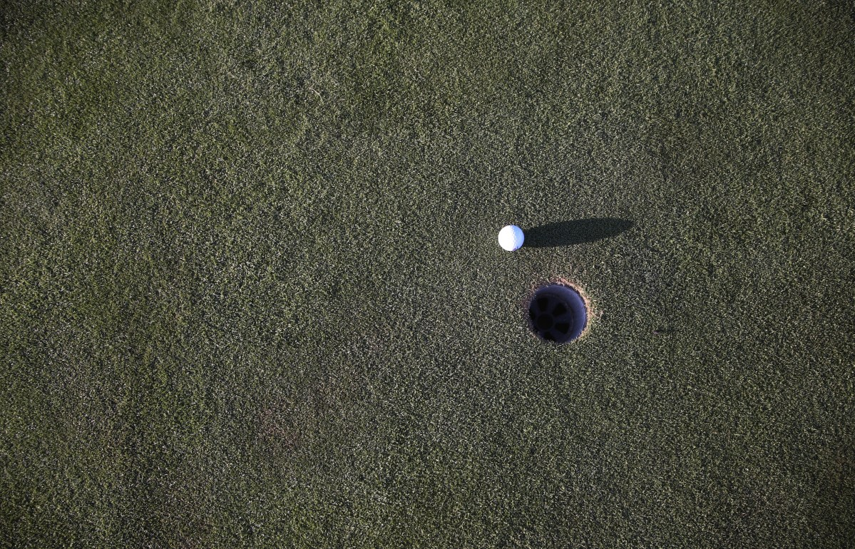 Golf ball on a green