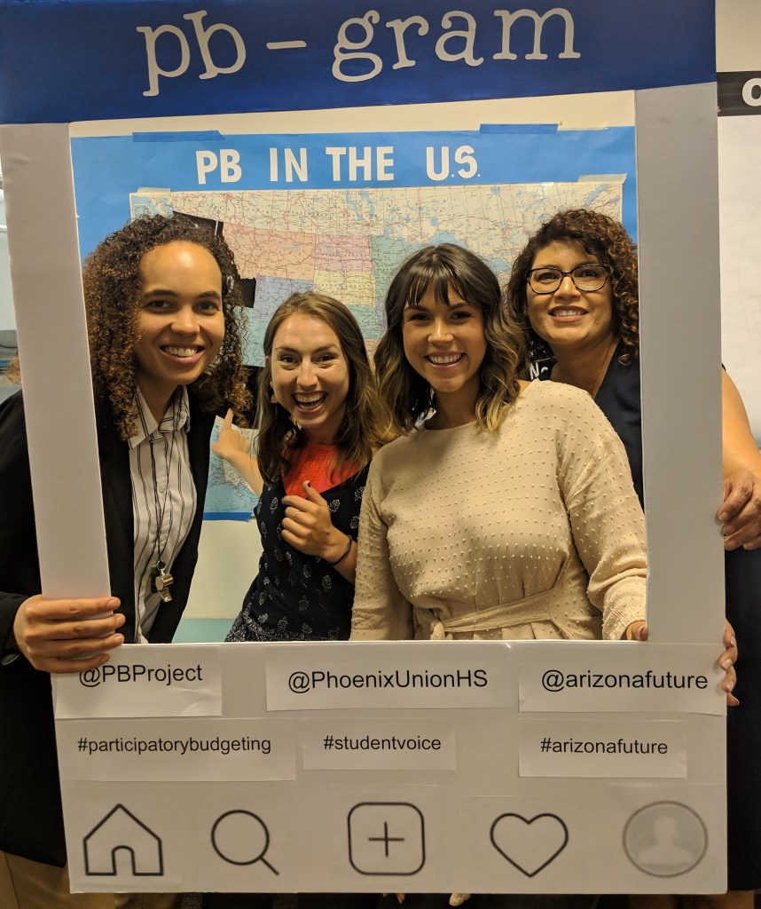 From left: Shari Davis, Co-executive Director, PBP; Ashley Brennan, Network Building Manager, PBP; Madison Rock, Program Coordinator Civic Health Initiatives; Center for the Future of Arizona; Cyndi Tercero, Student Support Services Manager, PUHSD, Board Member, PBP