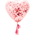 Kırmızı Metalik Kalpler Şeffaf Balon Dolgusu