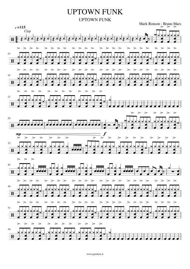 UpTown Funk - Spartito Batteria