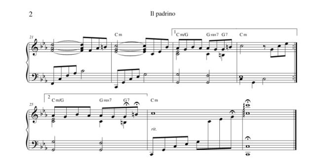 """Lo spartito per pianoforte de """"Il padrino - tema d'amore"""" di www.partiture.it2"""