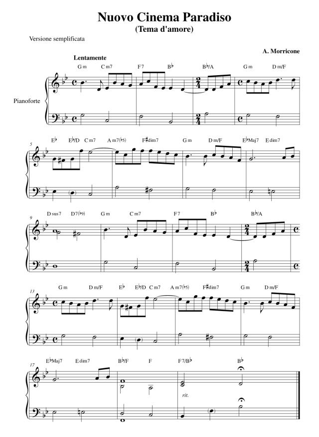 """Lo spartito per pianoforte semplificato di """"Nuovo Cinema Paradiso - Tema d'amore"""""""