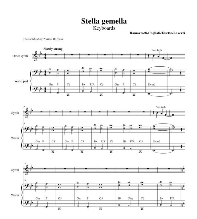 """Le parti delle tastiere di """"Stella gemella"""""""