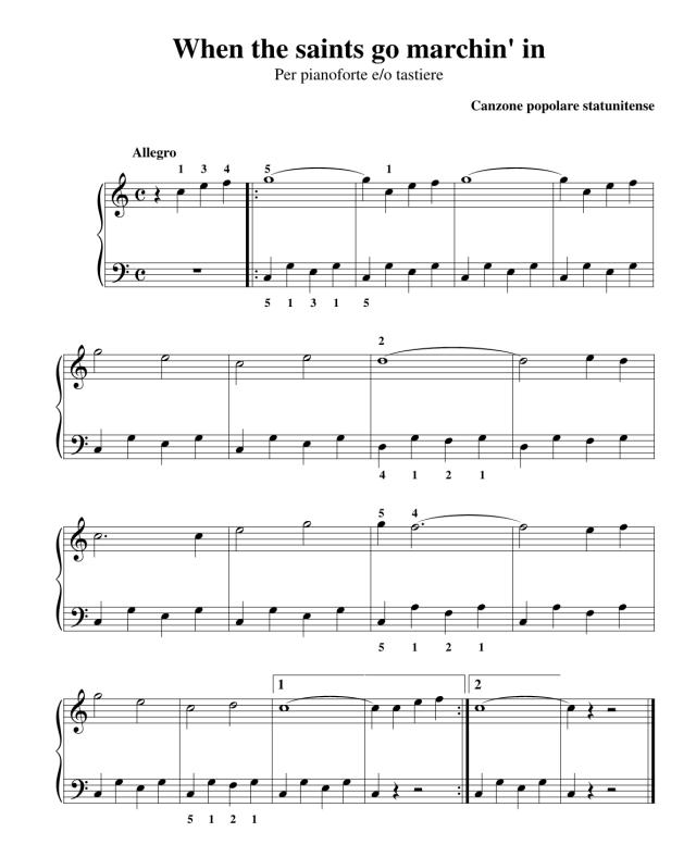 """Lo spartito di """"When the Saints Go Marching In"""" di www.partiture.it"""