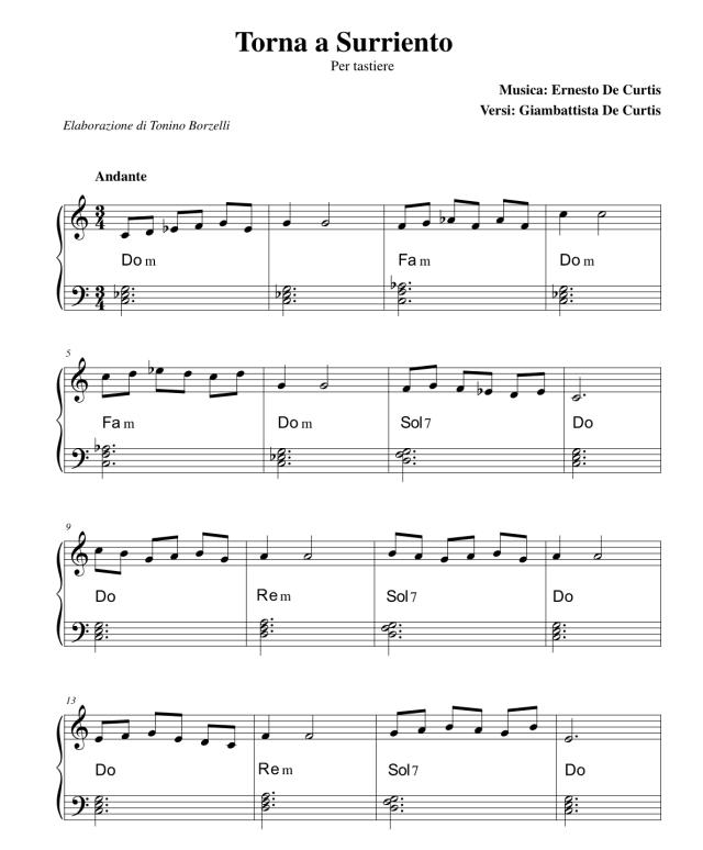 Torna a Surriento - Spartito per tastiere semplicissimo