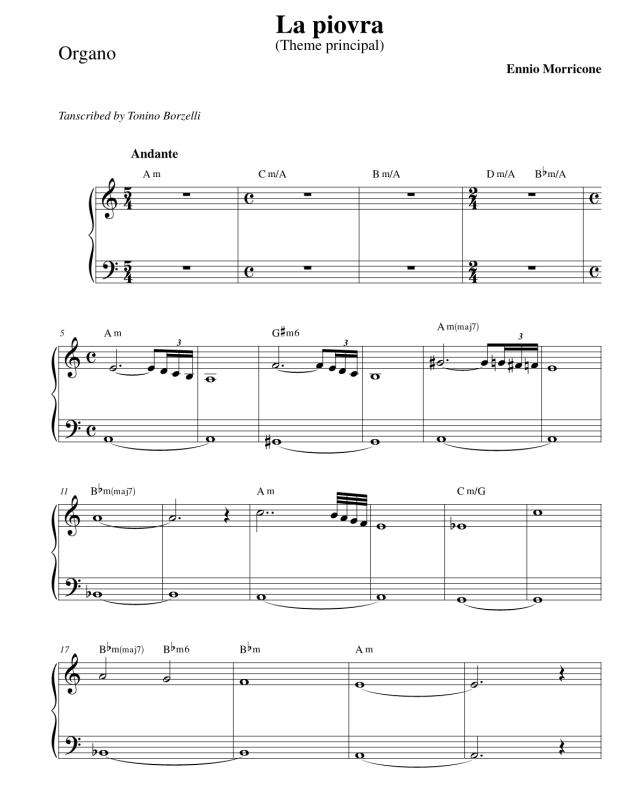 """Lo spartito de """"La Piovra"""" - Organo"""