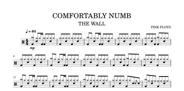 """Lo spartito di """"Comfortably numb"""" dei Pink Floyd: drums"""