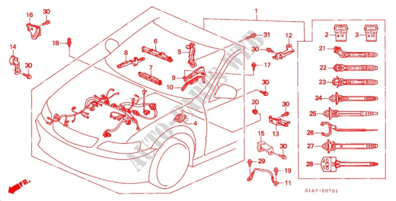 Engine Wire Harness Rh For Honda Cars