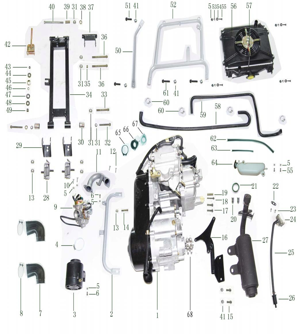 Xt250gk 9 Go Kart Engine And Exhaust System