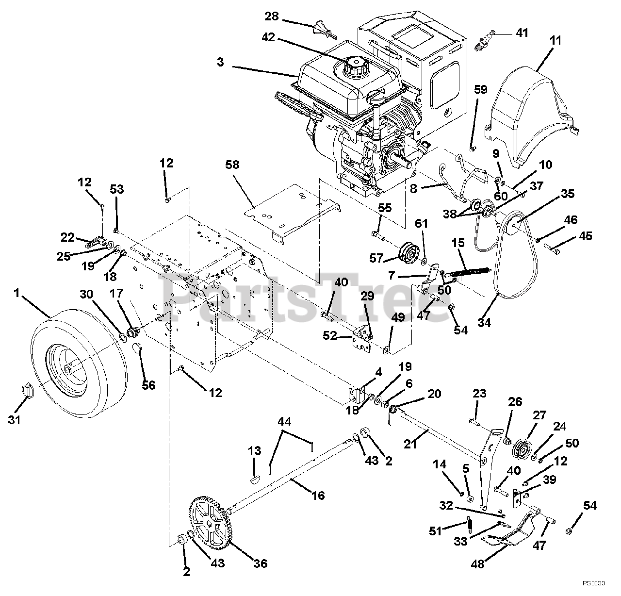 Ariens Parts On The Engine And Belt Drive Diagram For